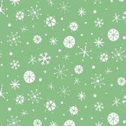 Dashwood Studio Christmas Wish By Lizzie Mackay - 3321 - White Snowflakes on Green  - Xmas 1047 Green - Cotton Fabric